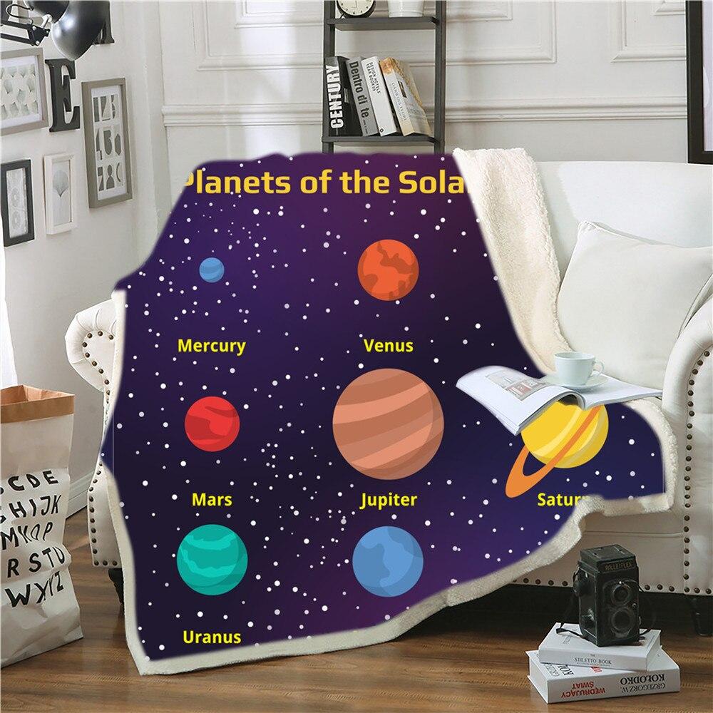 غالاكسي كوكب شيربا الصوف بطانية الأزرق الداكن الاطفال الفراش رمي بطانية Vintage نمط السرير بطانية