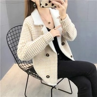 new women s artificial mink hair plaid double breasted short knitted cardigan jacket