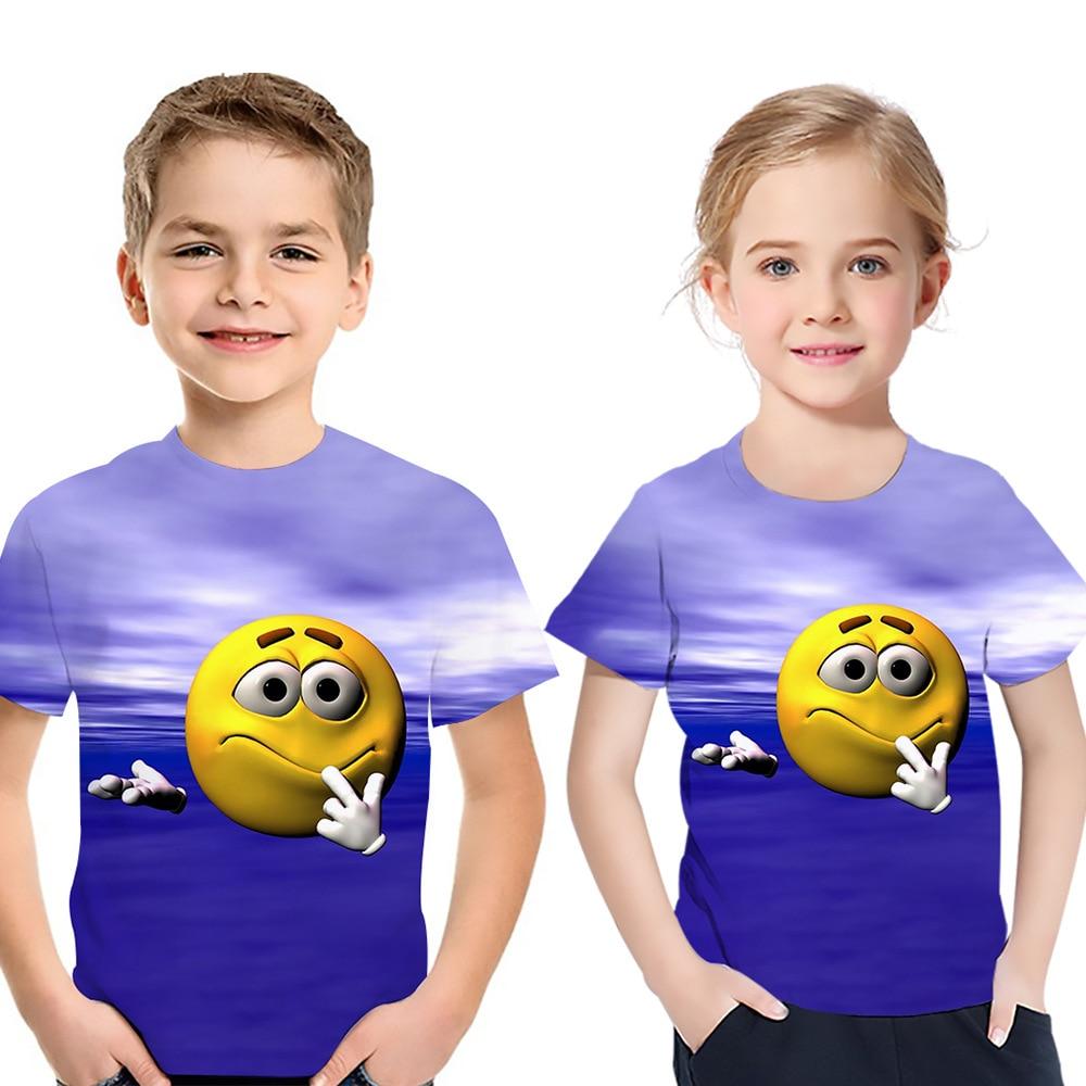 Verano 2020, camiseta para niños, paquete de expresión para bebé, ropa estampada, Camiseta de cuello redondo de manga corta para niño y niña, Tops de moda