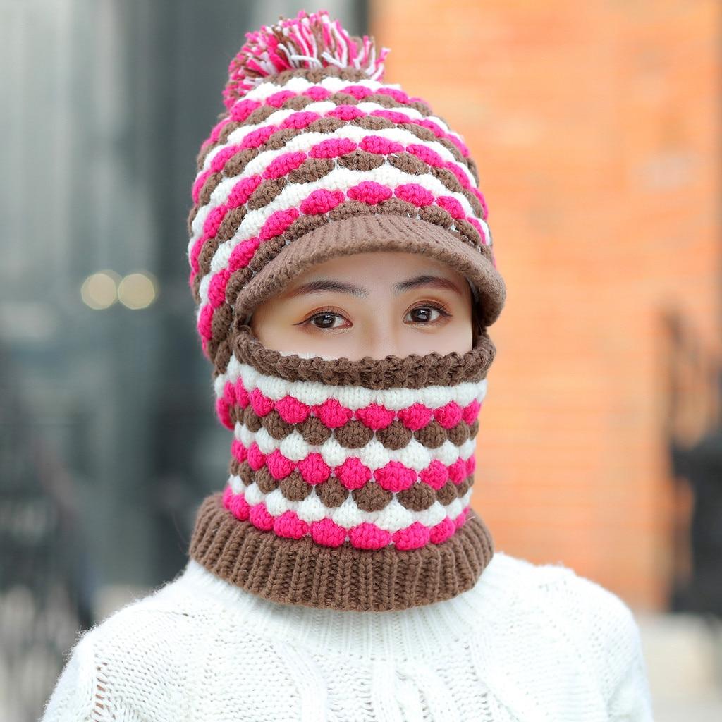 Sombreros 2019Top mujeres sombrero bufanda Siamés Collar niñas lindo invierno Slouchy Knit calavera gorra boina