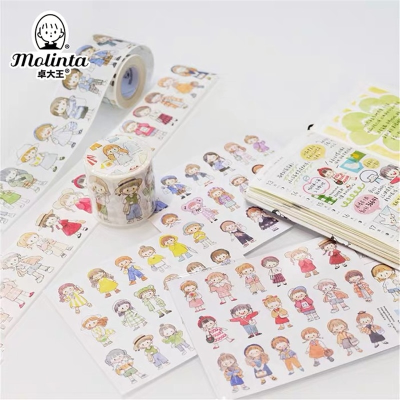Pegatinas de papel Washi para álbum de recortes con cinta adhesiva con diseño de bala para cintas Washi de chicas lindas