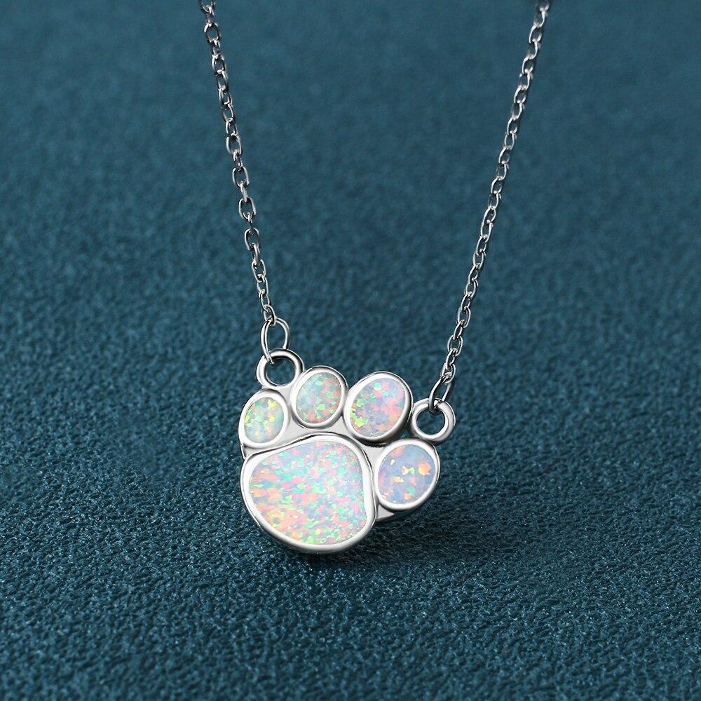 Kelitch prata-banhado colares sintético pedra opala birthstone dainty gargantilha colar branco pata pingente colar jóias