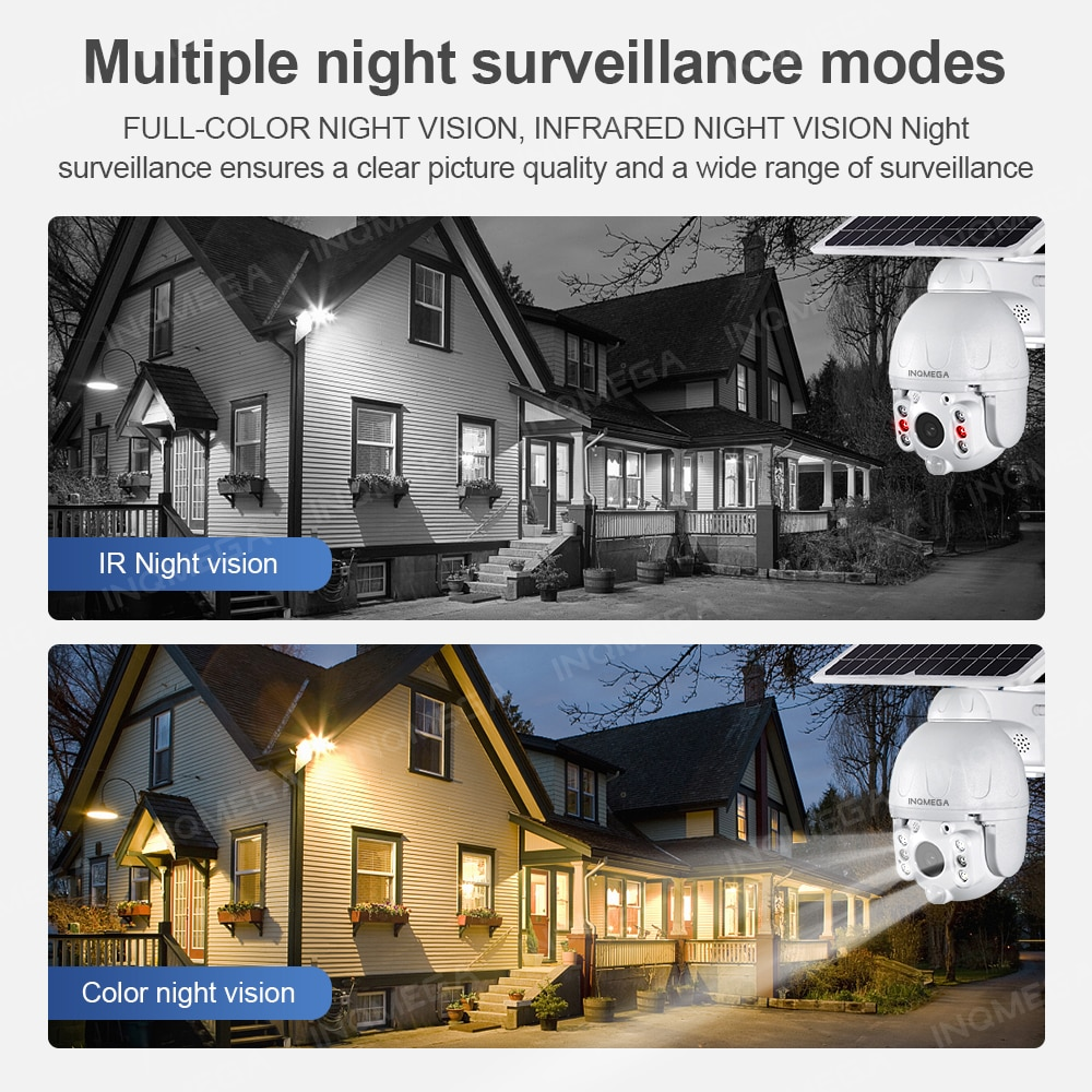 INQMEGA 4G Solar HD 1080P Camera Day and Night Full Color Smart Home Voice Intercom Motion Detection Waterproof Monitoring