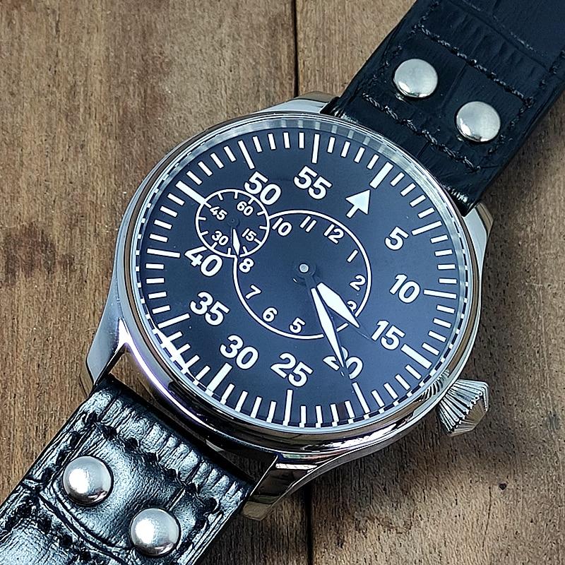Men'watch العسكرية نمط الطيار St36 حركة قوية مضيئة الطلب الكبير 44 مللي متر