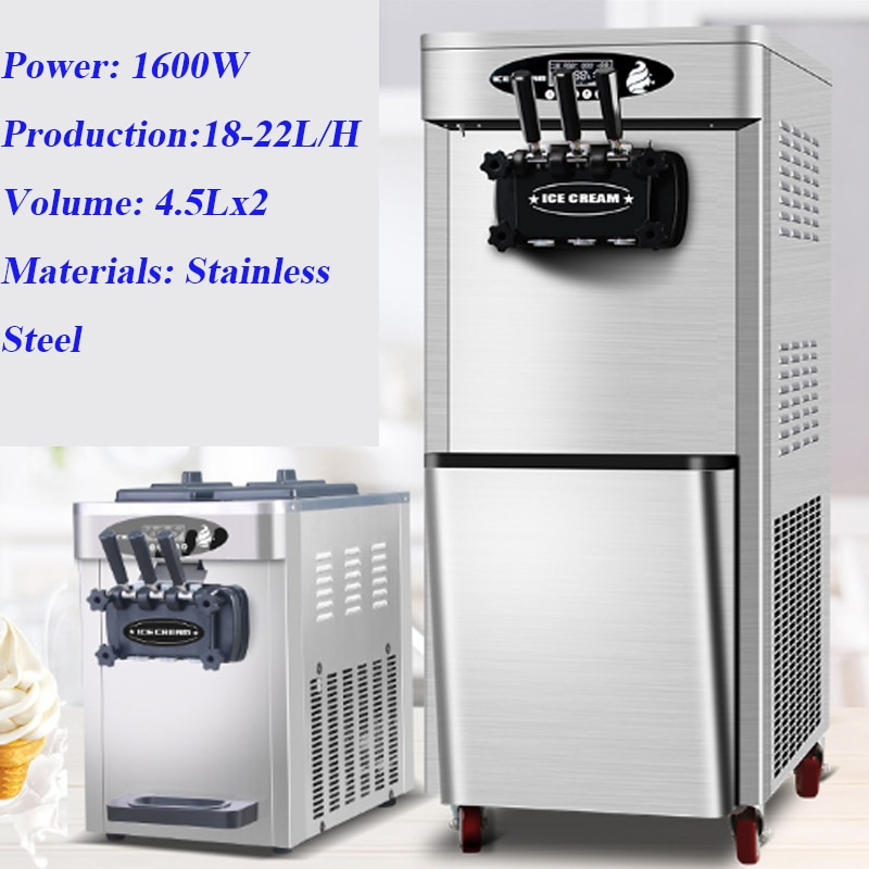 Commercial Soft Ice Cream Machine Electric 20L/H 3 Flavors Sweet Cone Maker