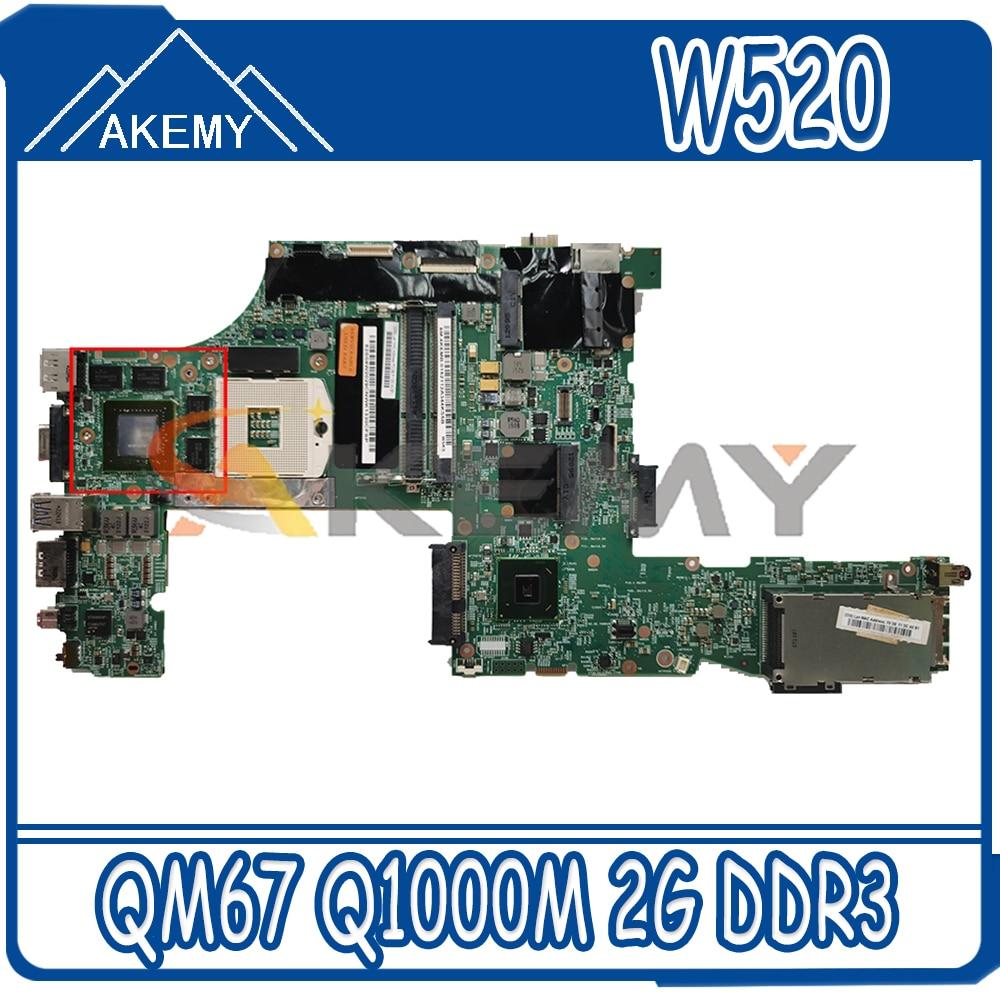 Akemy 48.4KE27.051 لينوفو ثينك باد W520 اللوحة المحمول 04W2036 04W2028 PGA989 QM67 Q1000M 2G DDR3 100% اختبار