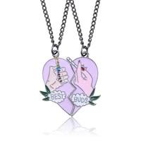 new 2pcsset splice best friends forever couple necklace best buds lighter and cigarettes broken heart shape pendant necklace
