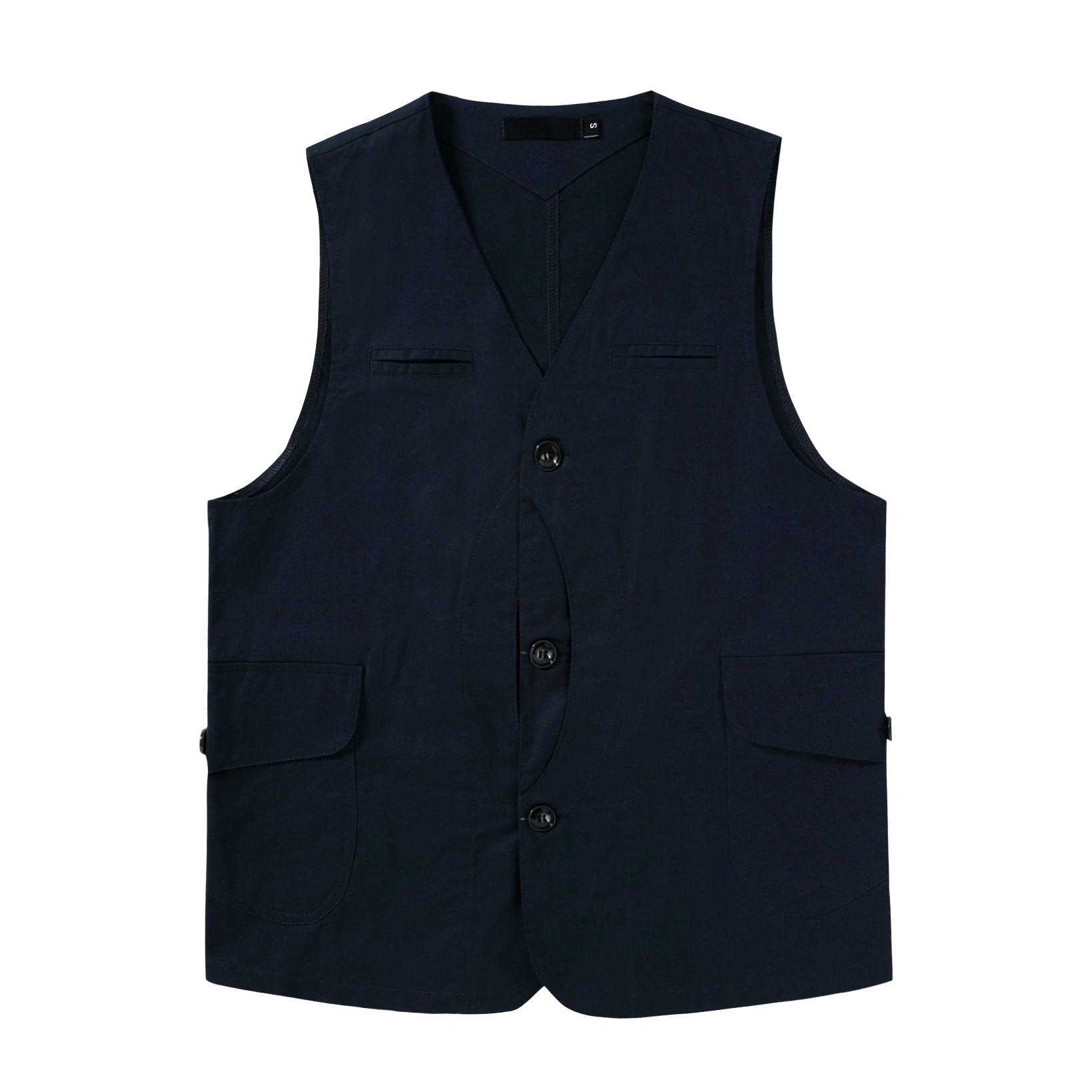 LUCLESAM, Мужская японская Повседневная хлопковая жилетка с несколькими карманами, куртка-карго Amekaji без рукавов, мужская безрукавка