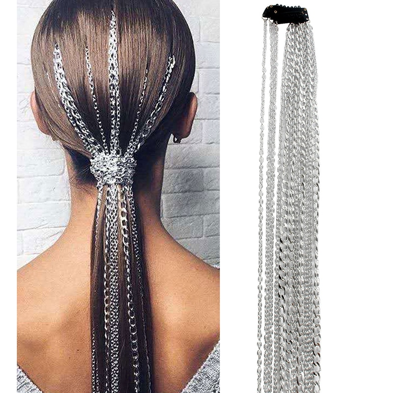 Bling Metal Style Ponytail Long Tassel Chain Hair Accessories Clip Bridal Wedding Prom Hair Extensions Accessories