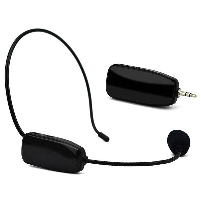 Microfone sem fio uhf profissional 2 em 1 handheld cabeça-usar microfone amplificador de voz para ensino de fala