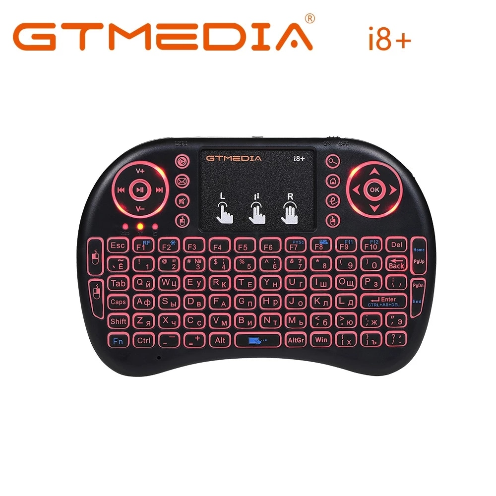GTMEDIA i8+ Russian English Version 2.4GHz Wireless Keyboard Air Mouse With Touchpad Handheld Work With Android TV BOX Mini PC18