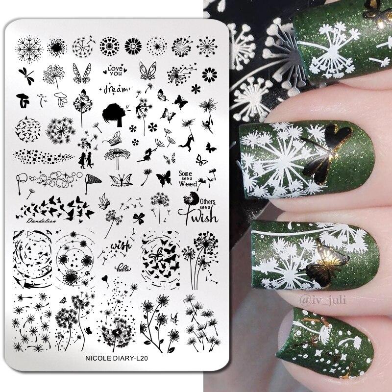 Nicole diary padrão geométrico, modelo de estampagem retangular, arte de unhas, placa, decoração diy para unhas