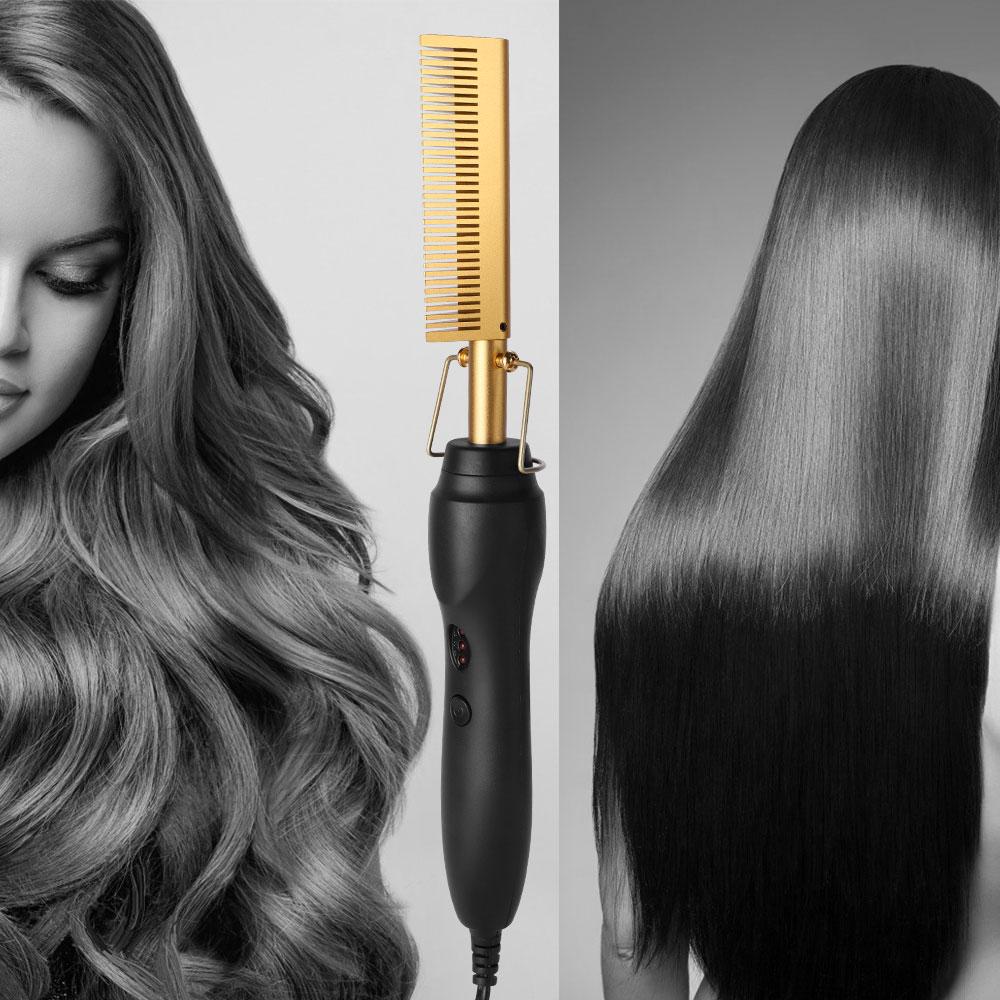 Hair Straightener Hot Heating Smooth Iron Comb Straightening Brush Multi-Function Corrugation Curlin
