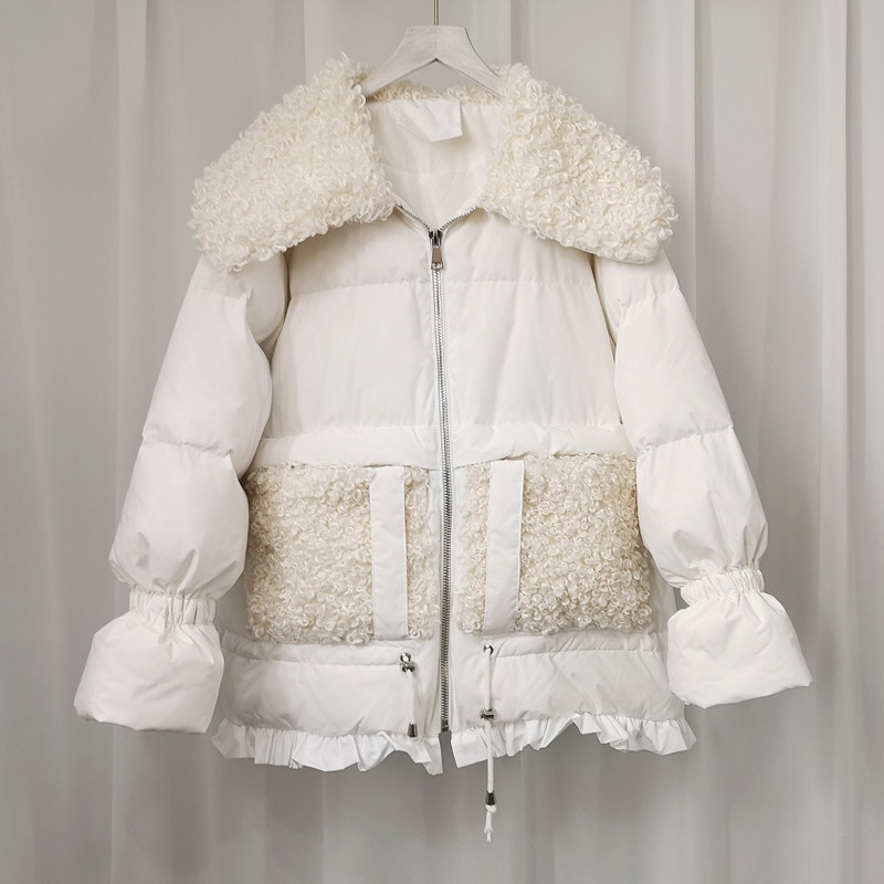 2020 de moda Parka extragrande de invierno cálido blanco chaqueta de plumón...