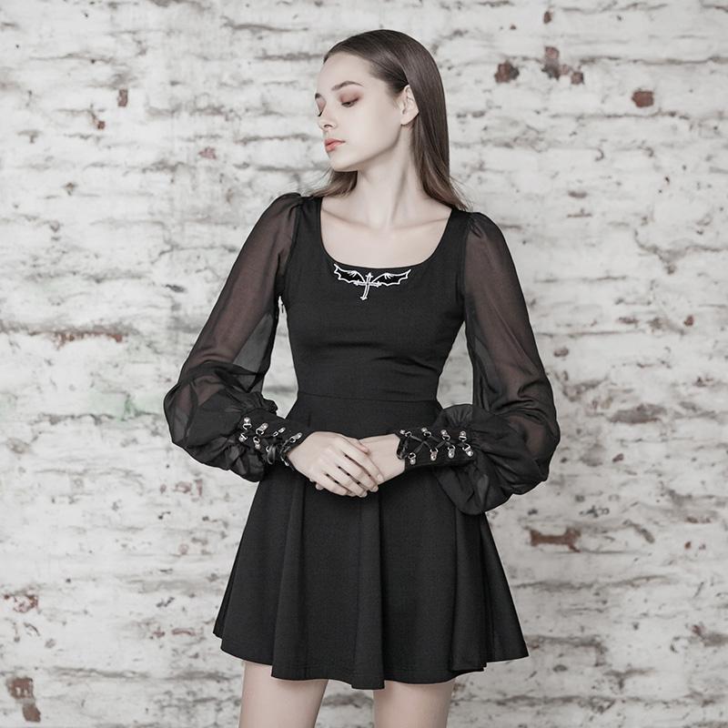 Punk Rave mujeres Goth gasa negra vestido pequeño con mangas Puff PQ496LQ Asia tamaño S-L