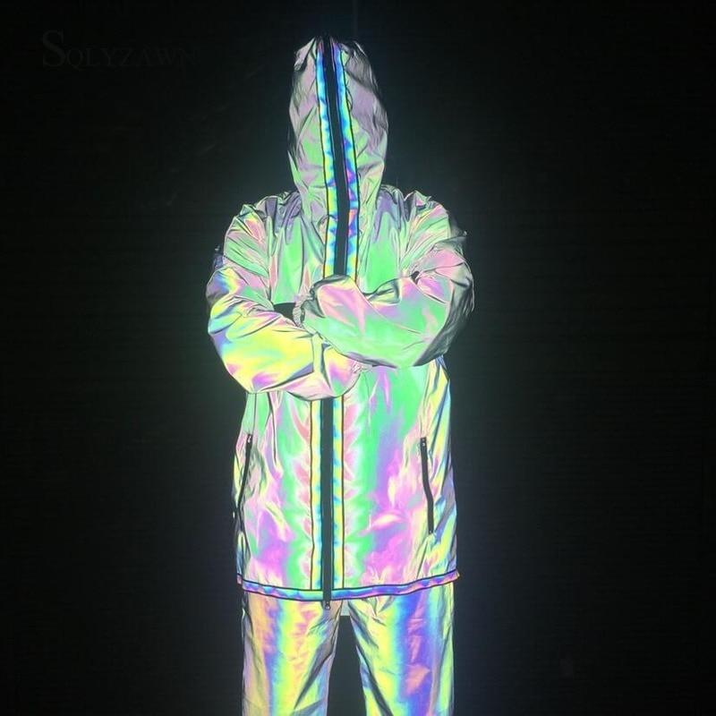 Full Zipper Reflective Holographic Trench Coat Men Laser Thin Punk Long Coat Jacket Men Coat Men Streetwear Overcoat Windbreaker