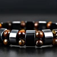 healthy magnet stone unisex bracelets for women natural stone bracelet men pulseras hombre black yellow strand bracelets
