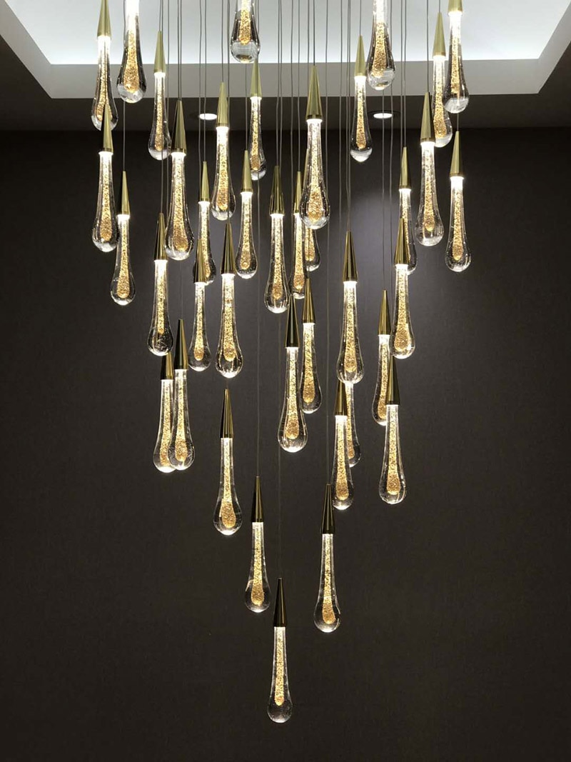 Lámpara colgante creativa estilo europeo, lámparas LED de lujo, iluminación interior, gota de agua dorada, cristal, cristal moderno, restaurante, AC moderno