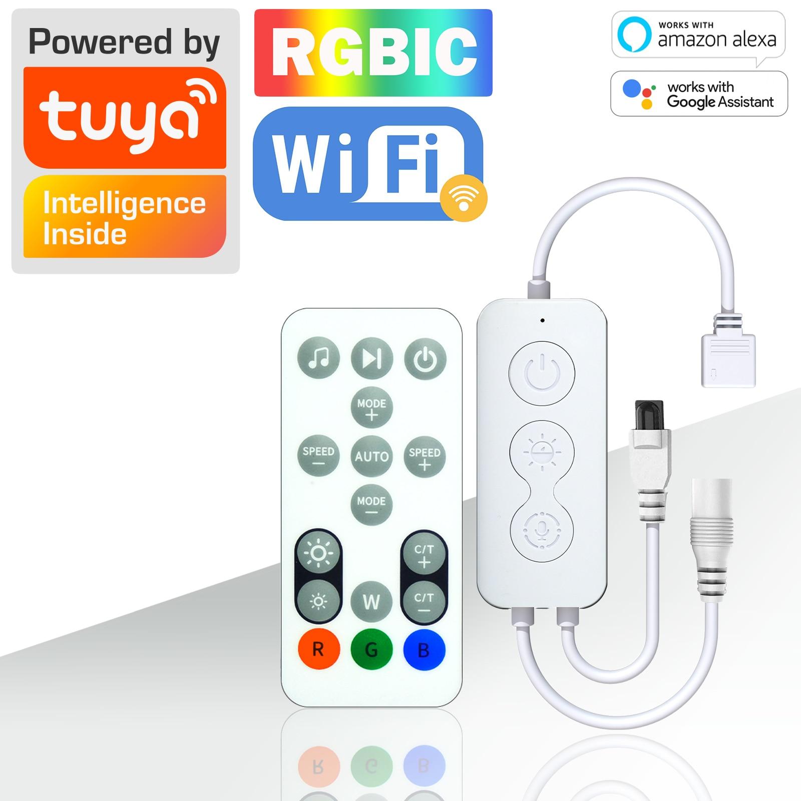 4Pin TUYA RGBIC Управление; С дистанционным управлением Управление WI-FI Dreamcolor WS2811 Управление; Работать с Alexa и Google Assistant