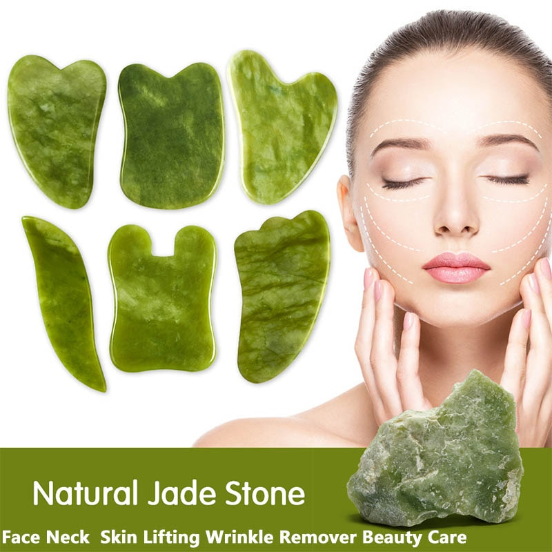 AliExpress - Natural Jade Gua Sha Scraper Green Gouache Scraper For Face Facial Massager Face Lifting Wrinkle Remove Skin Care Tools