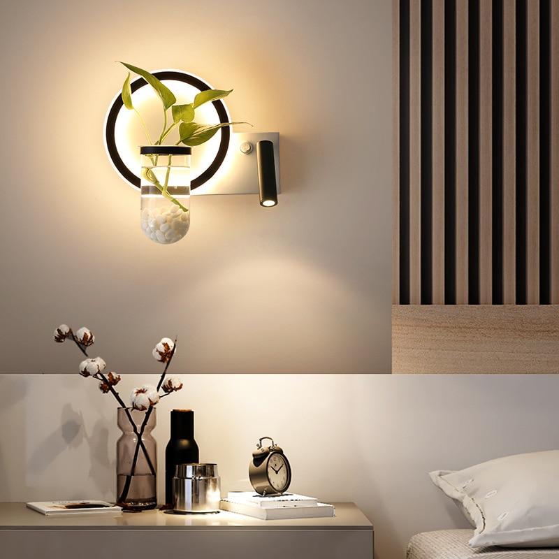 Living room modern minimalist study bedroom bedside lamp Nordic creative aisle plant reading background wall lamp