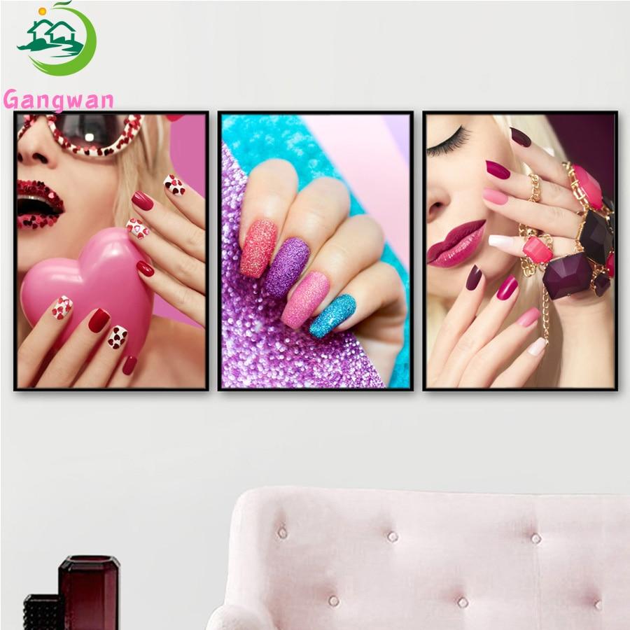 4 colors Modern diamond painting Wall Art Fashion Women Beauty Salon embroidery Painting Nail Hand S