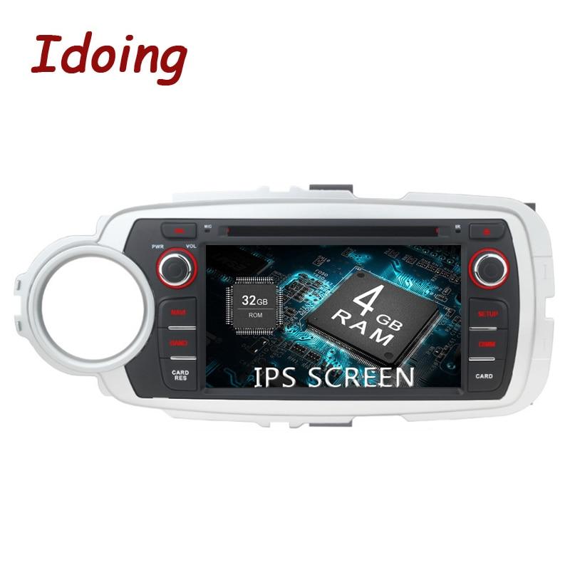 "Idoing 7 ""4g + 32g 8 núcleo ips hd tela 2din android 8.0 rádio do carro multimidia player de áudio para toyota yaris 2012-2017 navegação gps"