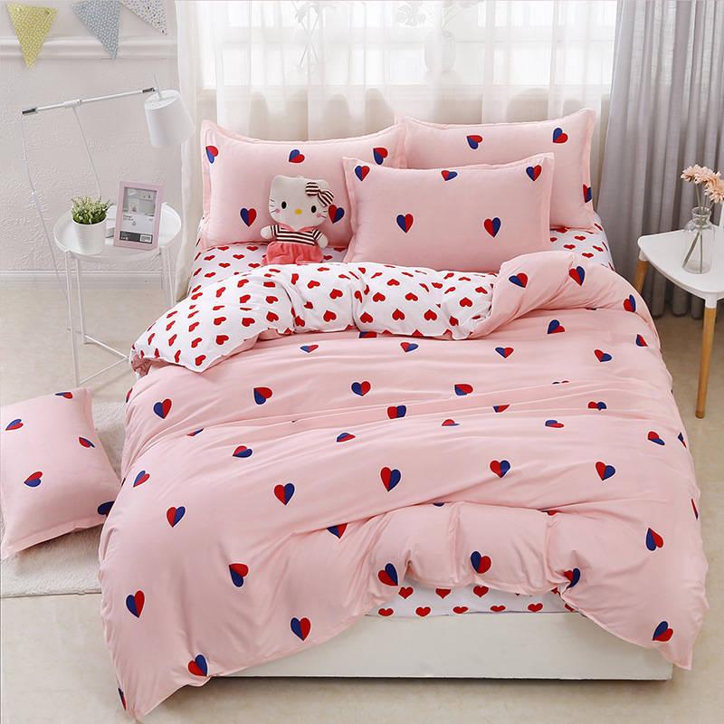 J Rosa amor 4 piezas Niña niño chico cama cubierta de funda nórdica para cama de niño sábanas y las fundas de almohada edredón ropa de cama de 2TJ-61009