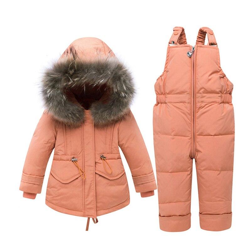 IYEAL الروسية الأطفال الشتاء الدافئة الدعاوى الفتيان فتاة بطة أسفل سترة السراويل مجموعة ملابس الاطفال ملابس الثلوج جودة عالية