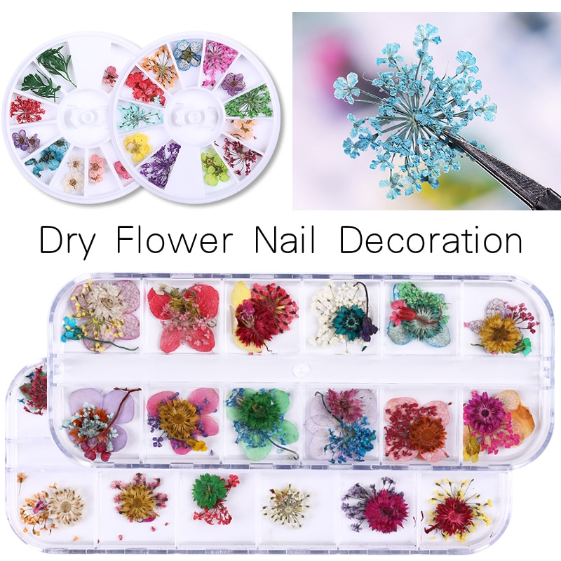 1 Box Getrocknete Blumen Blatt Nagel Dekoration Natürliche Floral Aufkleber 3D Trockenen Schönheit Nail art Decals Schmuck UV Gel Polnisch