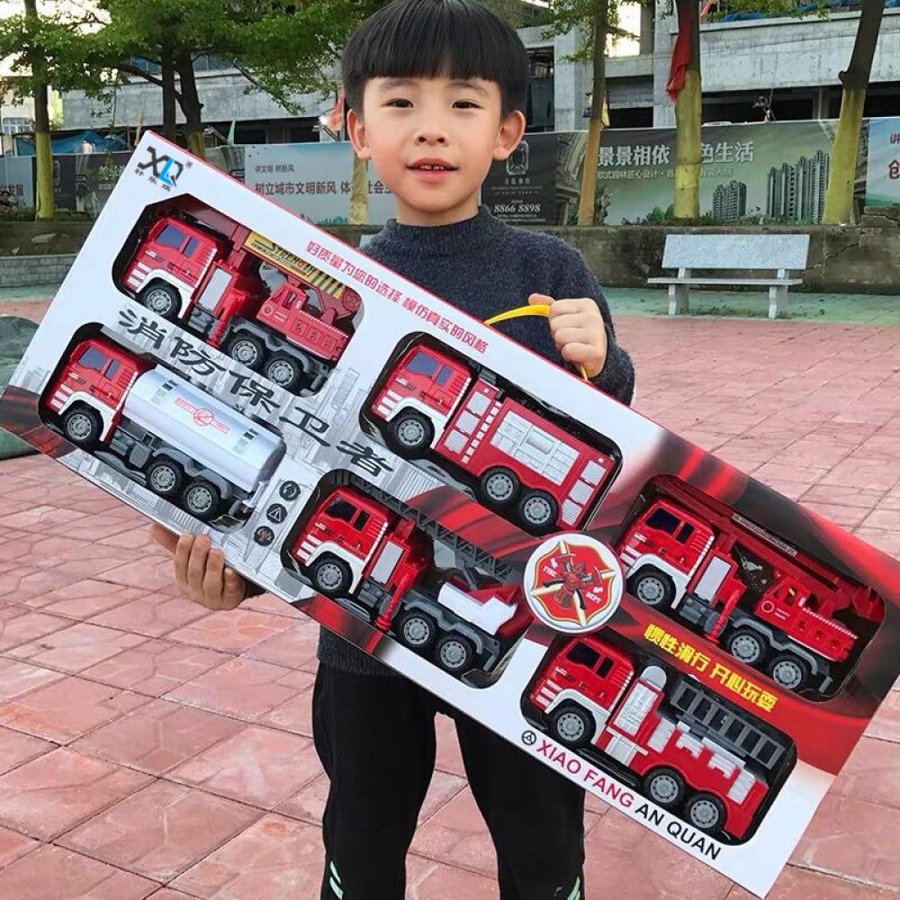 Детский Большой комплект игрушка «пожарная машина» с лестницей, грузовик с разбрызгивателем, пожарный, игрушечный грузовик, обучающие игру...