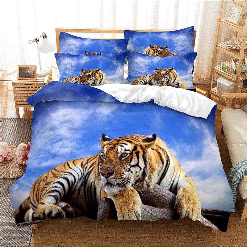 Lie Tiger-طقم سرير بطبعة رقمية ، طقم سرير مع غطاء لحاف ، طباعة رقمية ثلاثية الأبعاد ، مقاس كوين ، تصميم عصري
