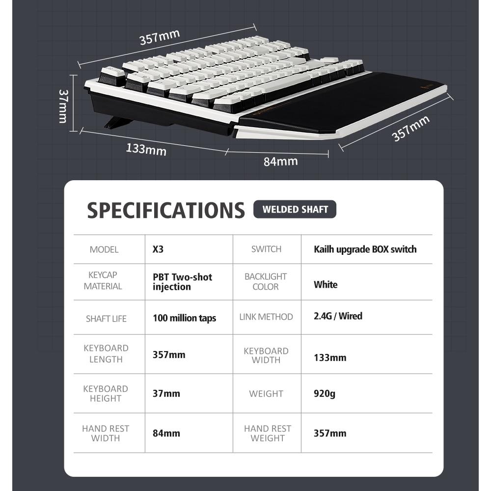 HEXGEARS X3 Mechanical Keyboard 87 Key PBT Keycaps Kailh BOX Switch Gaming Keyboard USB Wired/2.4Ghz teclado Wireless for PC
