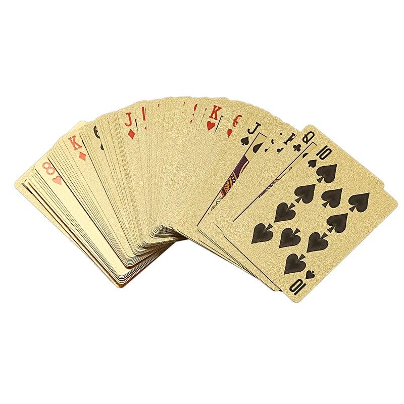 Hot-Gold Foil Poker Euros estilo plástico Poker naipes cartas juego de mesa impermeable