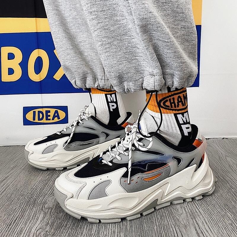 منصة أحذية رياضية الرجال تنفس أحذية غير رسمية الفلكنة الكورية موضة جديدة منصة الذكور سميكة وحيد الاحذية حذاء كاجوال