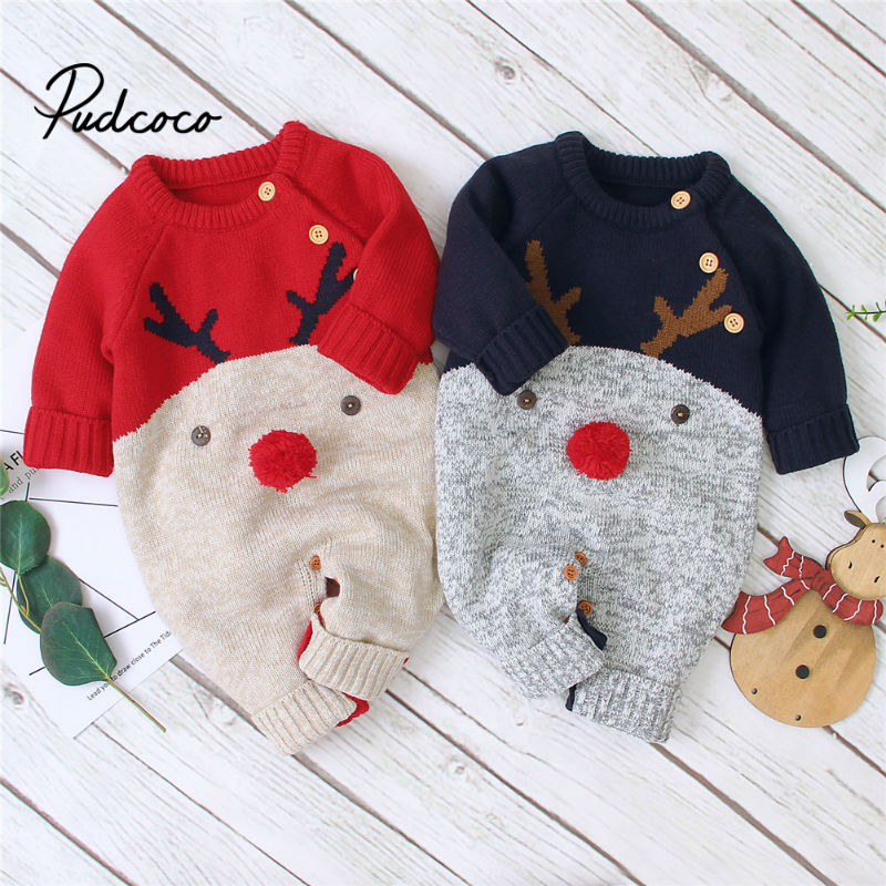 baby costume set 0 2y santa elf climb clothes sets boys gilrs christmas rompers overalls roupas santa claus jumpsuits and hat Baby Boys Christmas Rompers Reindeer Knitted Infantil Jumpsuits Toddler Girls New Year's Costume Children Warm Wool Clothes 0-2Y