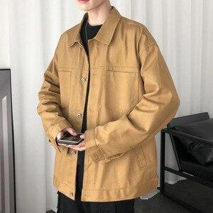 Осенняя хлопковая повседневная куртка, мужские Модные однотонные куртки для инструментов, Мужская Уличная одежда, дикая Свободная куртка-б...