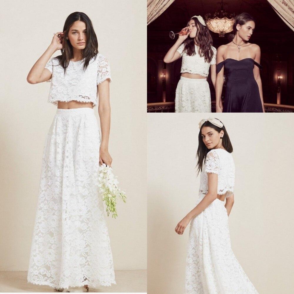 Romantic White Lace Country 2018 Two Piece Beach abendkleider Long Bridal Gown short Sleeves vestido de noiva bridesmaid dresses
