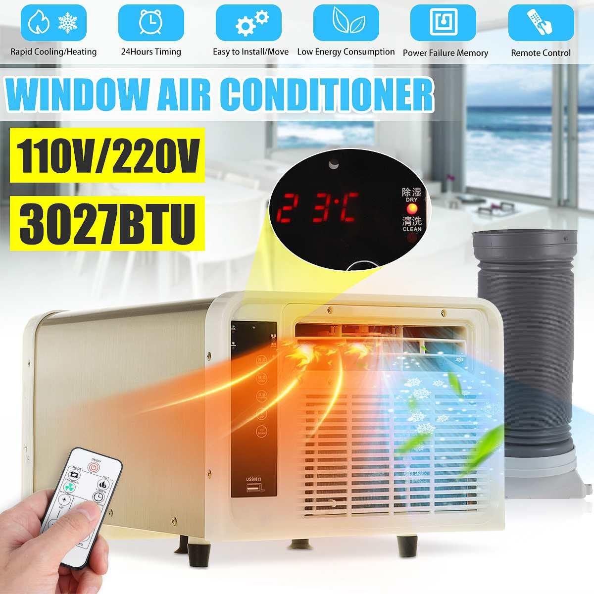 3027BTU مكيف هواء متنقل 220 فولت/110 فولت التيار المتناوب الباردة/الحرارة الاستخدام المزدوج 24 ساعة الموقت LED لوحة التحكم في الإضاءة مع جهاز التحكم ع...