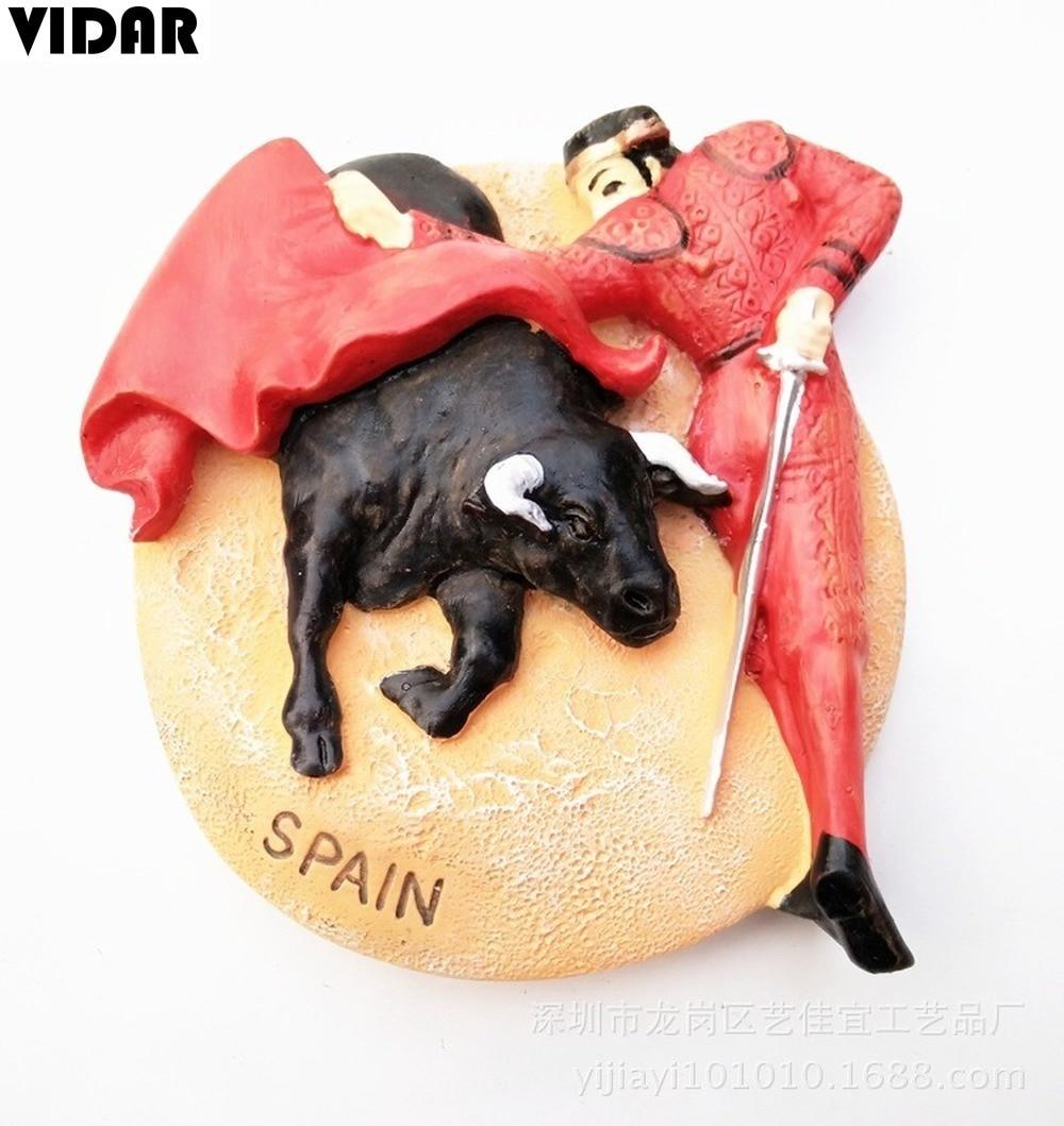 VIDAR Travel Souvenir Refrigerator Magnet Spanish Bullfighting SPAIN Three-dimensional Resin Magnet