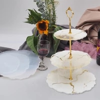 irregular three tier fruit plate cup mat epoxy resin coaster plate mould dried flower silicone molds handmade diy resin jewelry