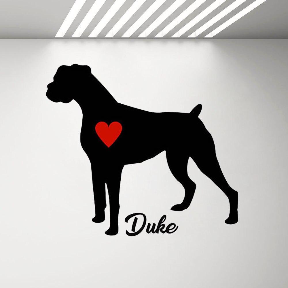 Vinilo Boxer perro pegatina Adhesivo de pared personalizado con nombre personalizar el nombre del perro pegatinas de pared Boxer perro con Pared de corazón rojo arte Mural C268
