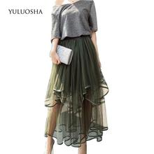 YULUOSHA Formal Dress Elastic Waist Dresses Lace Evening Gowns for Women Vestidos De Noche Largos El