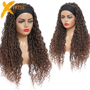 Synthetic Headband Wigs Ombre Brown Crochet Braiding Hair Wig For Black Women Soft Natural Fluffy Glueless Hairstyle X-TRESS