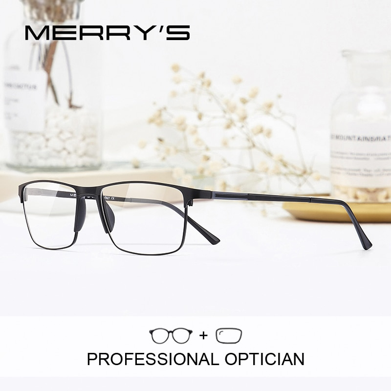 MERRYS DESIGN Men Prescription Glasses Square Myopia Prescription Eyeglasses Male Small Frames Optic
