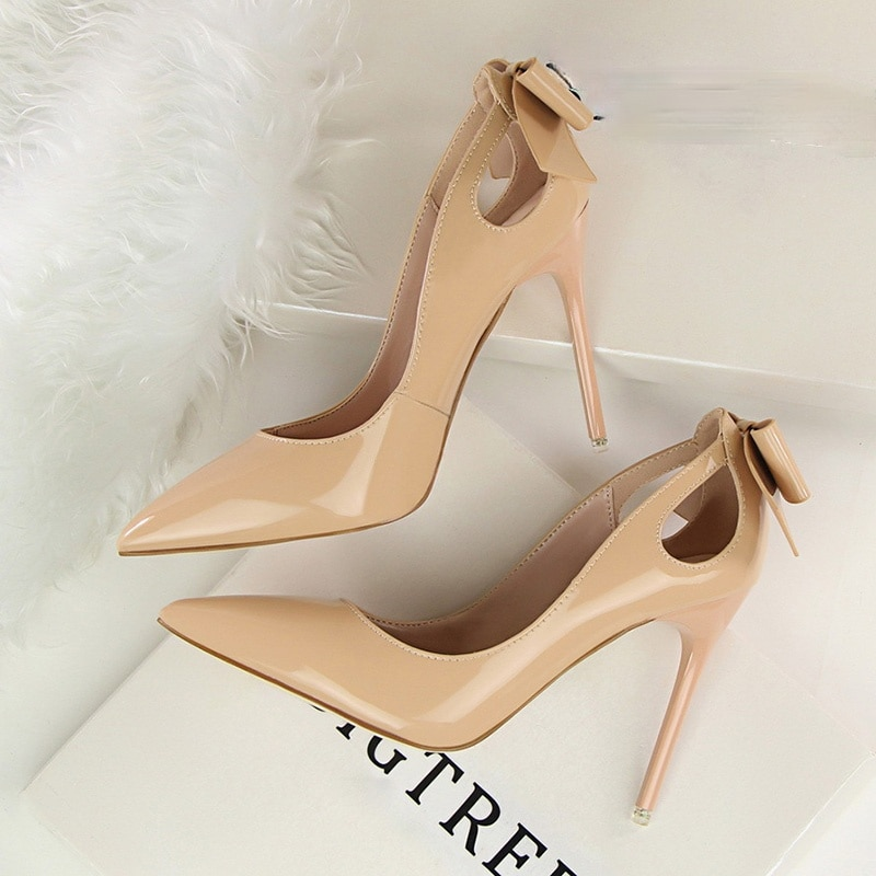 Patent Leather Women Heels Pointed Toe Woman Pumps Sexy High Heels 2021 Hot Bow-Knot Pumps Women Stiletto Ladies ladylike women s pumps with patent leather and pointed toe design