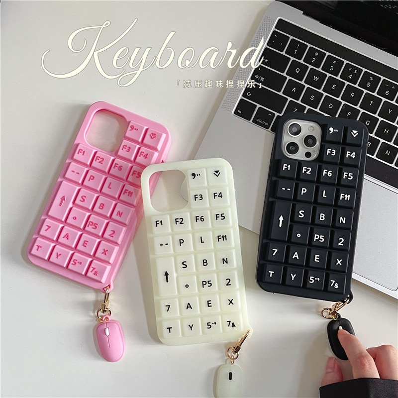 Luminous keyboard with mouse silicone Cute Phone case For OPPO RENO 6 5 Pro 4se 3 K7 K5 REALME X2 V5 IQOO NEO3 Z1 F5 F7 F9 F11