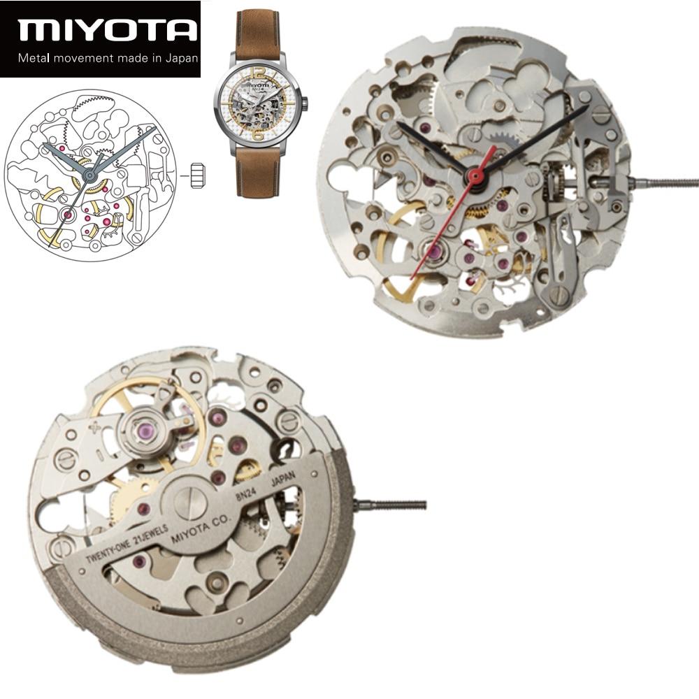 Original Japan Miyota 8N24 Skeleton Movement Steel Silver 21 Jewels Automatic Winding Gold or Steel enlarge
