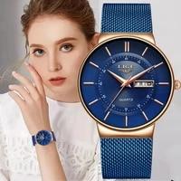 lige women watches luxury brand ultra thin calendar week quartz watch ladies mesh stainless steel waterproof gift reloj muje