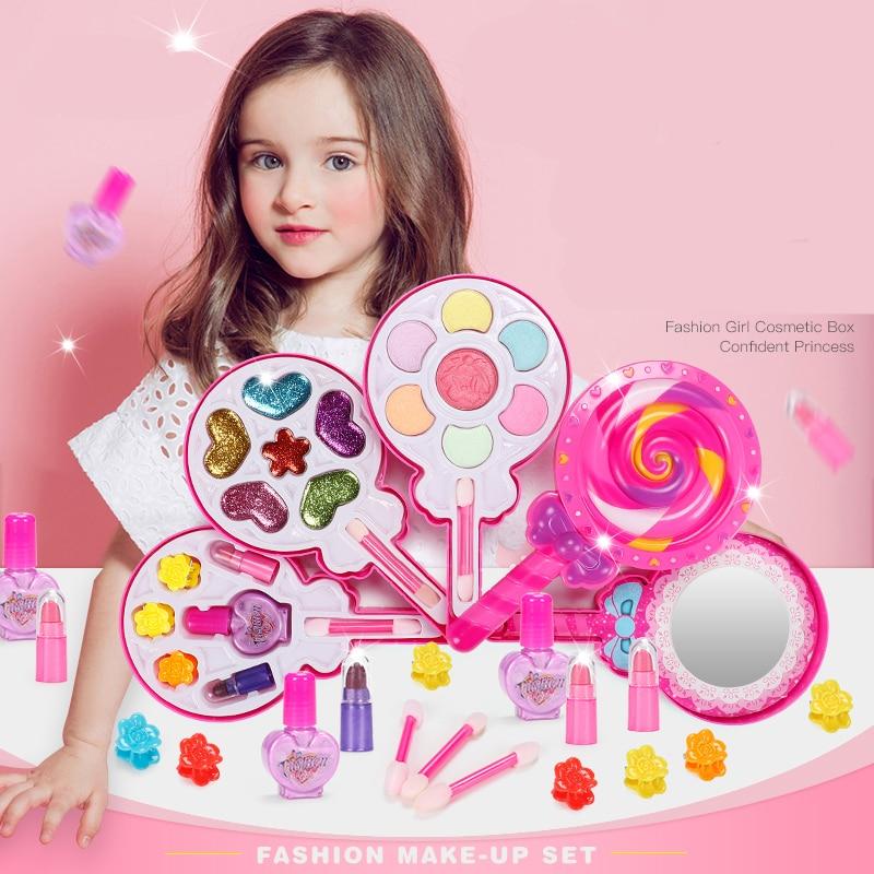 Kinder make-up spielzeug set rosa make-up sicher ungiftig mädchen kleid up mädchen spielzeug set geschenk